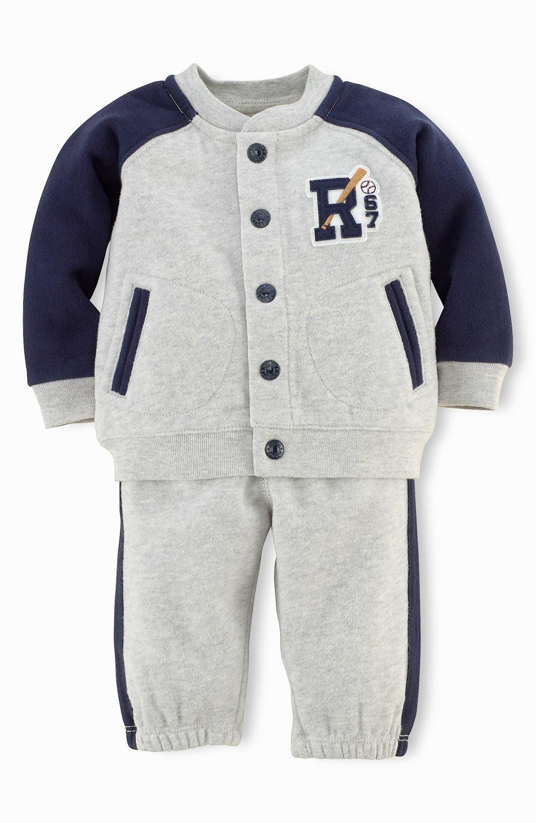 Main Image - Ralph Lauren Fleece Jacket & Sweatpants (Baby Boys)