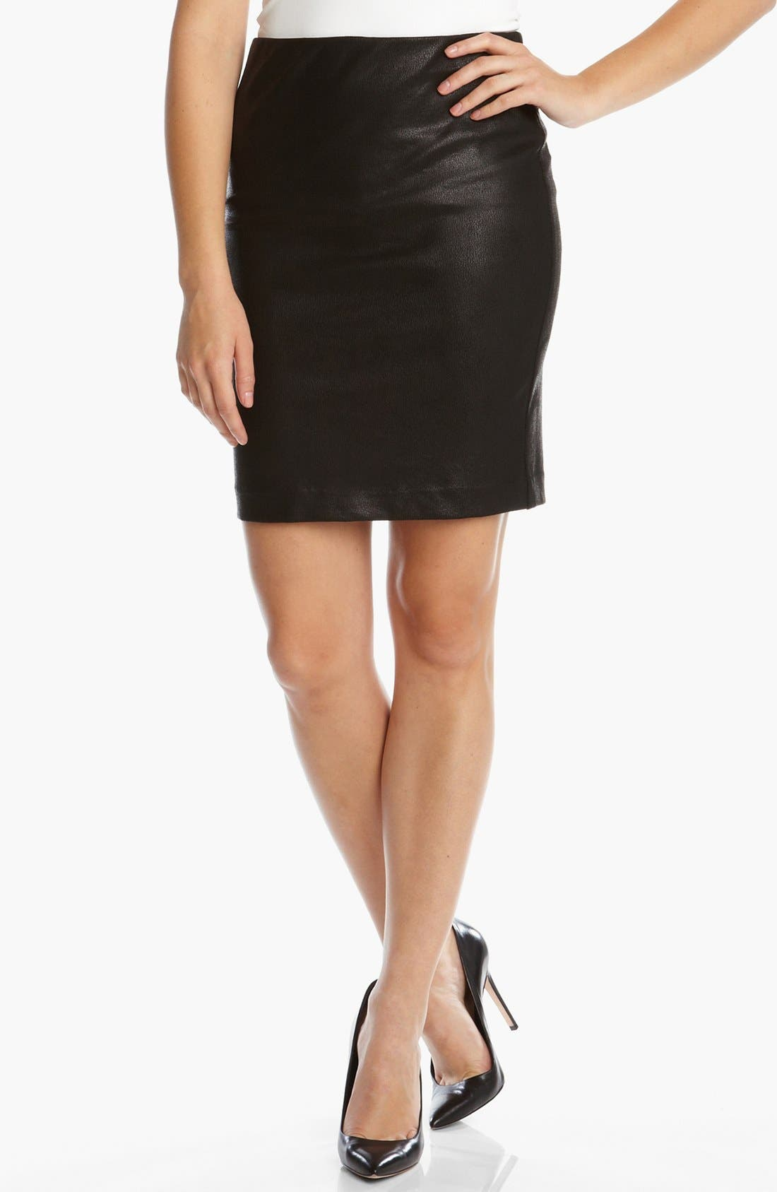 Main Image - Karen Kane Faux Leather Pencil Skirt