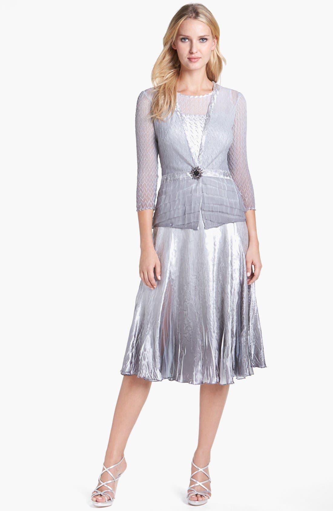 Main Image - Komarov Pleated Charmeuse Dress & Chiffon Jacket