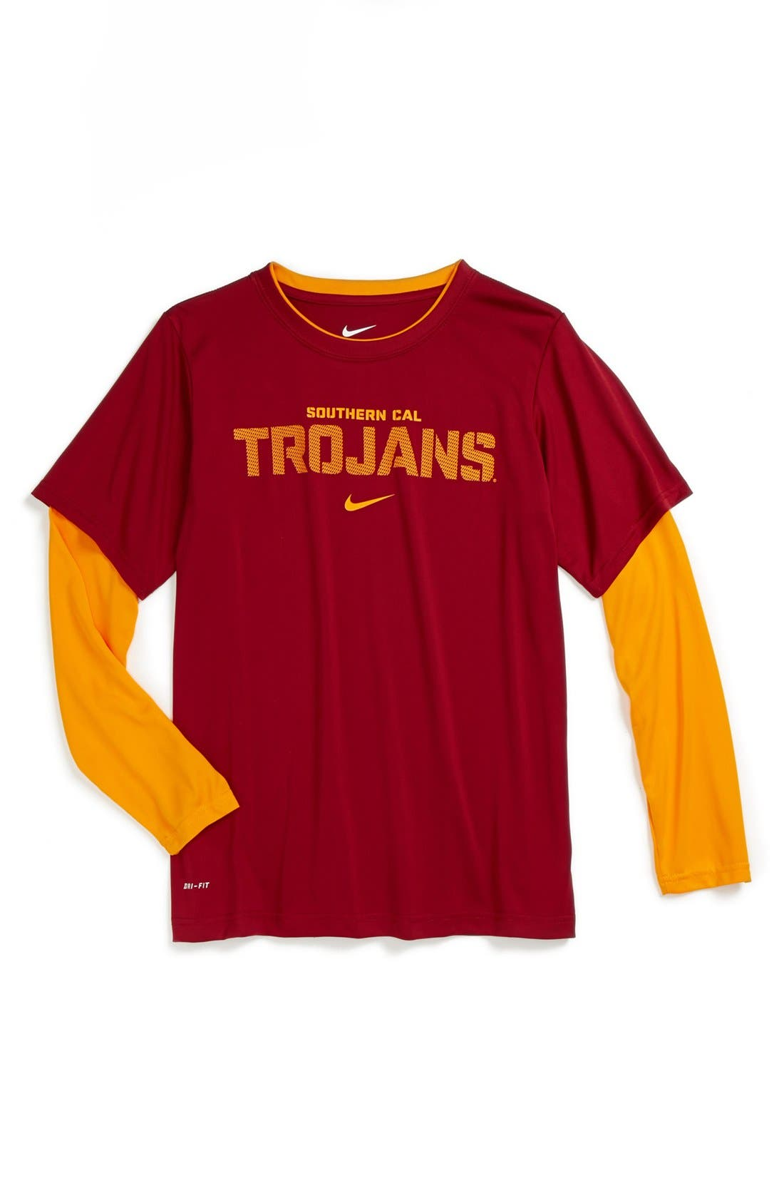 Main Image - Nike 'Southern California Trojans' Dri-FIT Layered Sleeve Sport T-Shirt (Big Boys)
