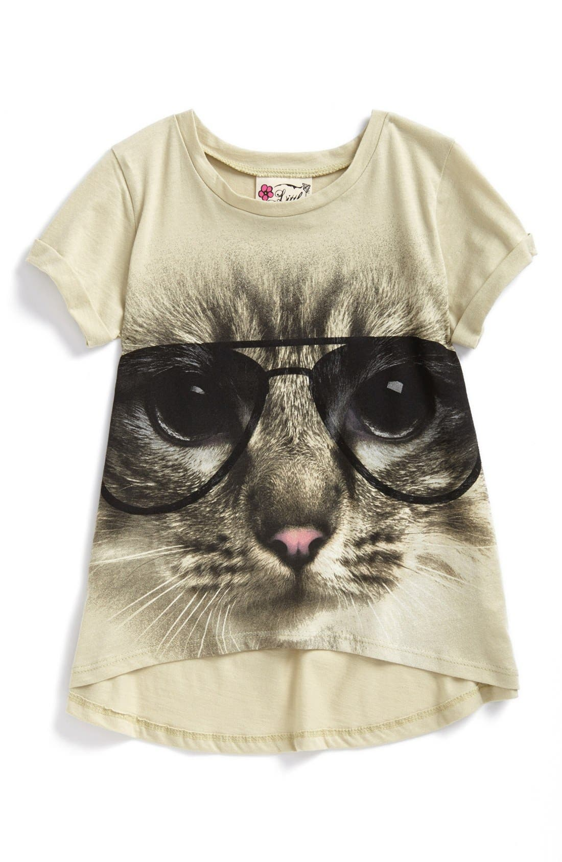 Alternate Image 1 Selected - Miken Clothing 'Kitty' High/Low Tee (Little Girls)