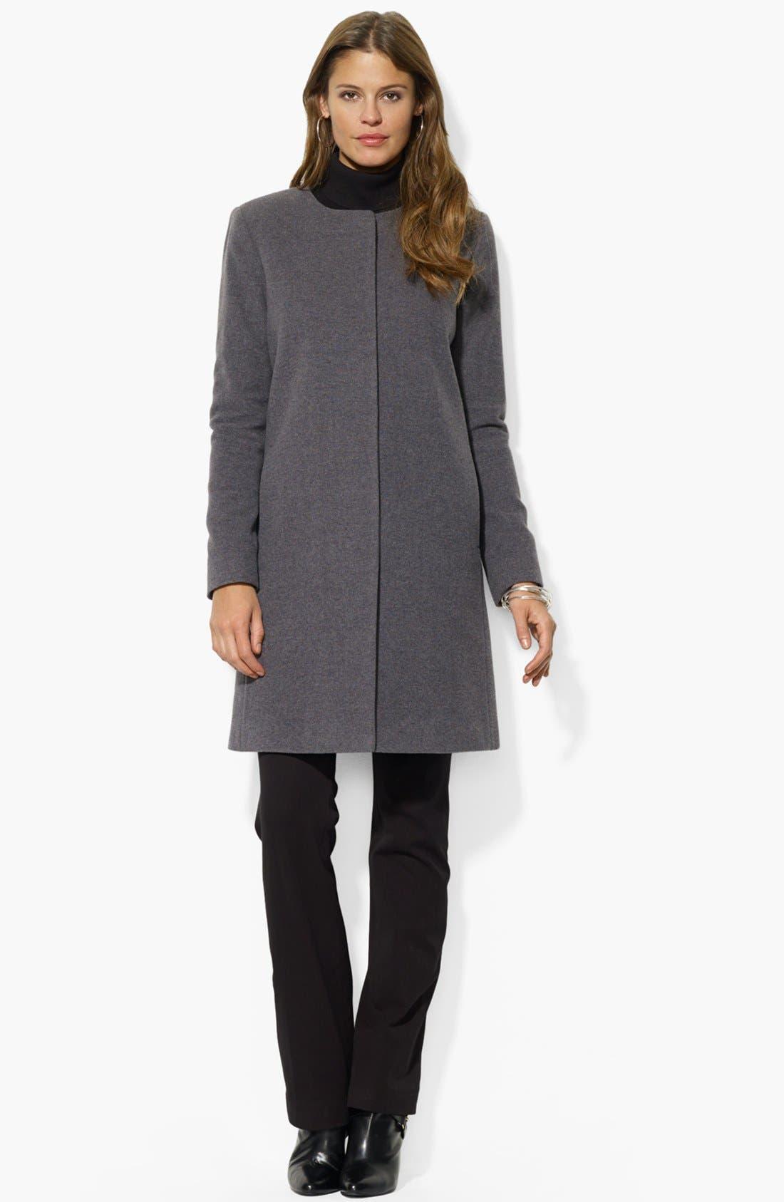 Main Image - Lauren Ralph Lauren Collarless Wool Blend Coat (Online Only)