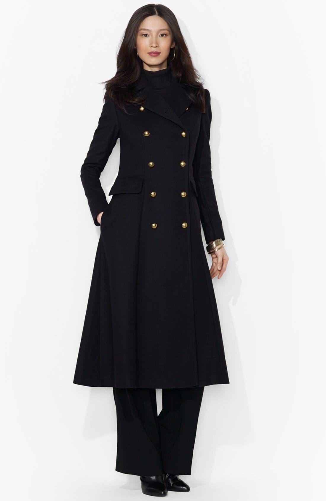 Main Image - Lauren Ralph Lauren Military Wool Blend Long Coat