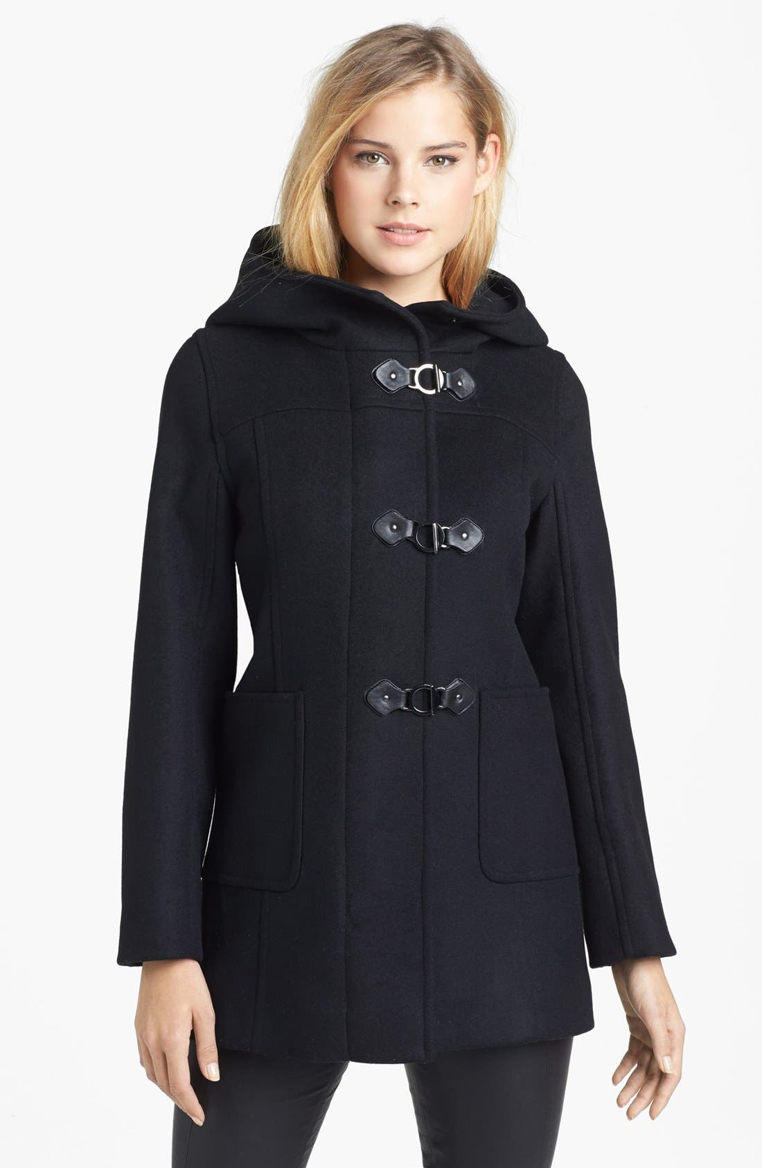 Main Image - Kristen Blake Hooded Wool Blend Duffle Coat (Nordstrom Exclusive)