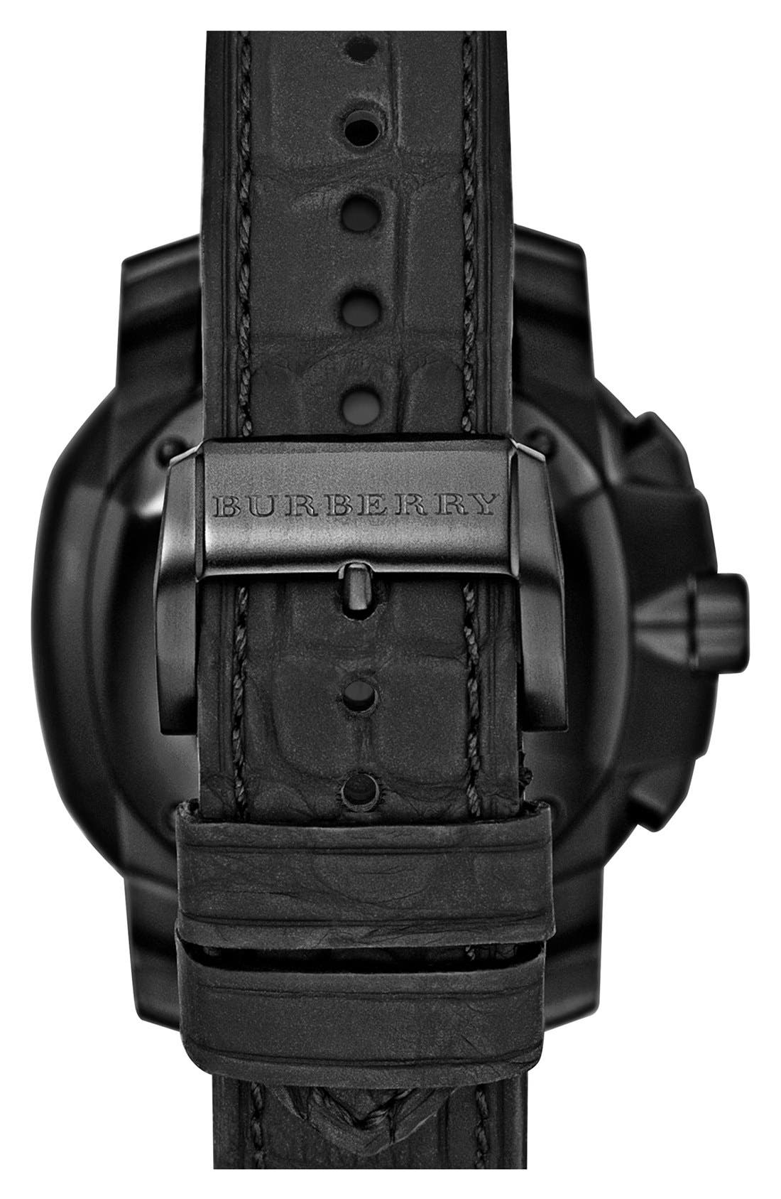 Alternate Image 2  - Burberry The Britain Automatic Alligator Strap Watch, 43mm