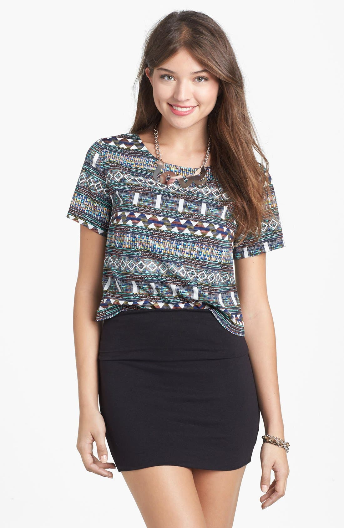 Main Image - Lily White Banded Skirt (Juniors) (Online Only)