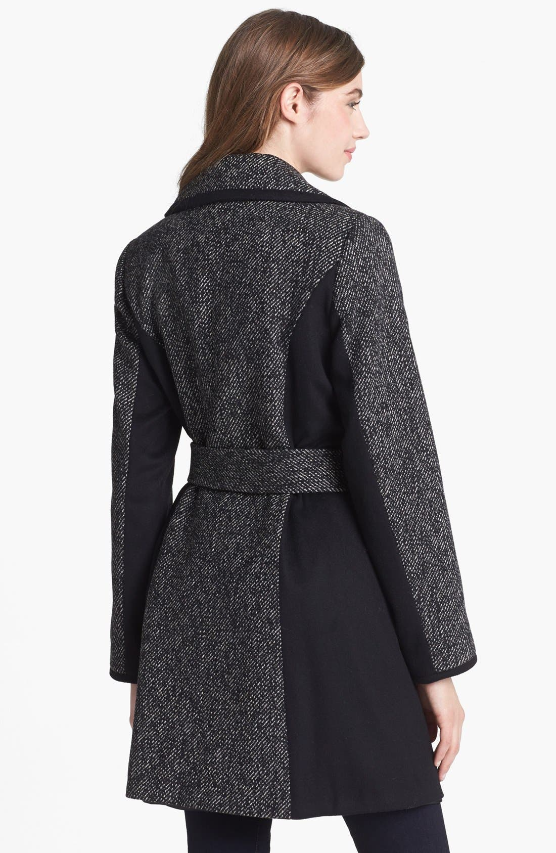 Alternate Image 2  - Kristen Blake Belted Colorblocked Tweed Coat (Petite)