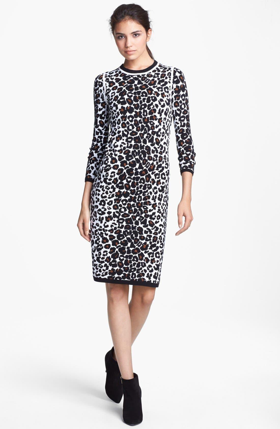 Main Image - A.L.C. 'Smith' Long Sleeve Leopard Pattern Knit Dress