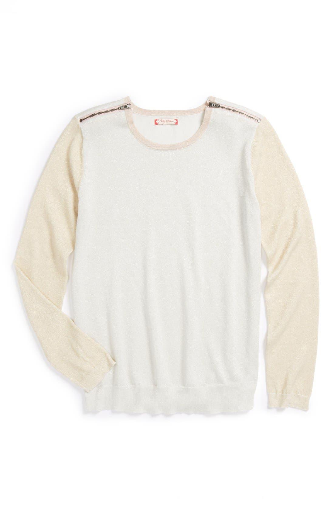 Main Image - Ruby & Bloom 'Glitzy' Sweater (Big Girls)