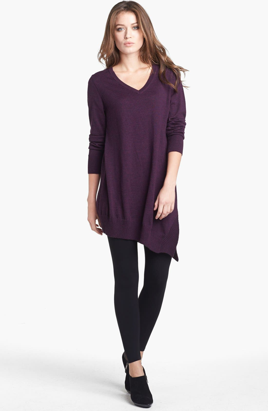 Alternate Image 1 Selected - Eileen Fisher V-Neck Merino Jersey Layering Tunic Dress