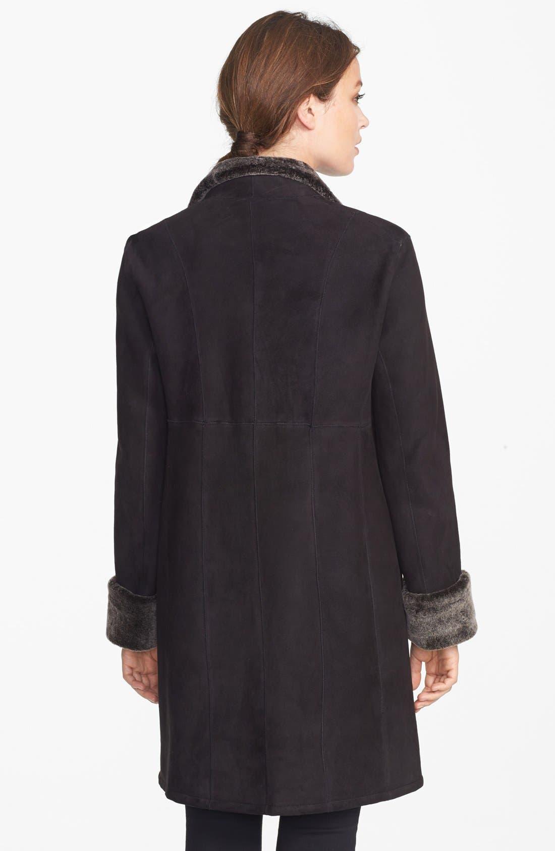 Alternate Image 2  - Blue Duck Stand Collar Genuine Merino Shearling Coat