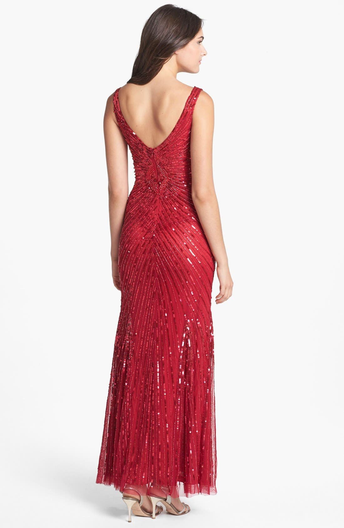 Alternate Image 2  - Aidan Mattox Sequin V-Back Mesh Gown (Online Only)