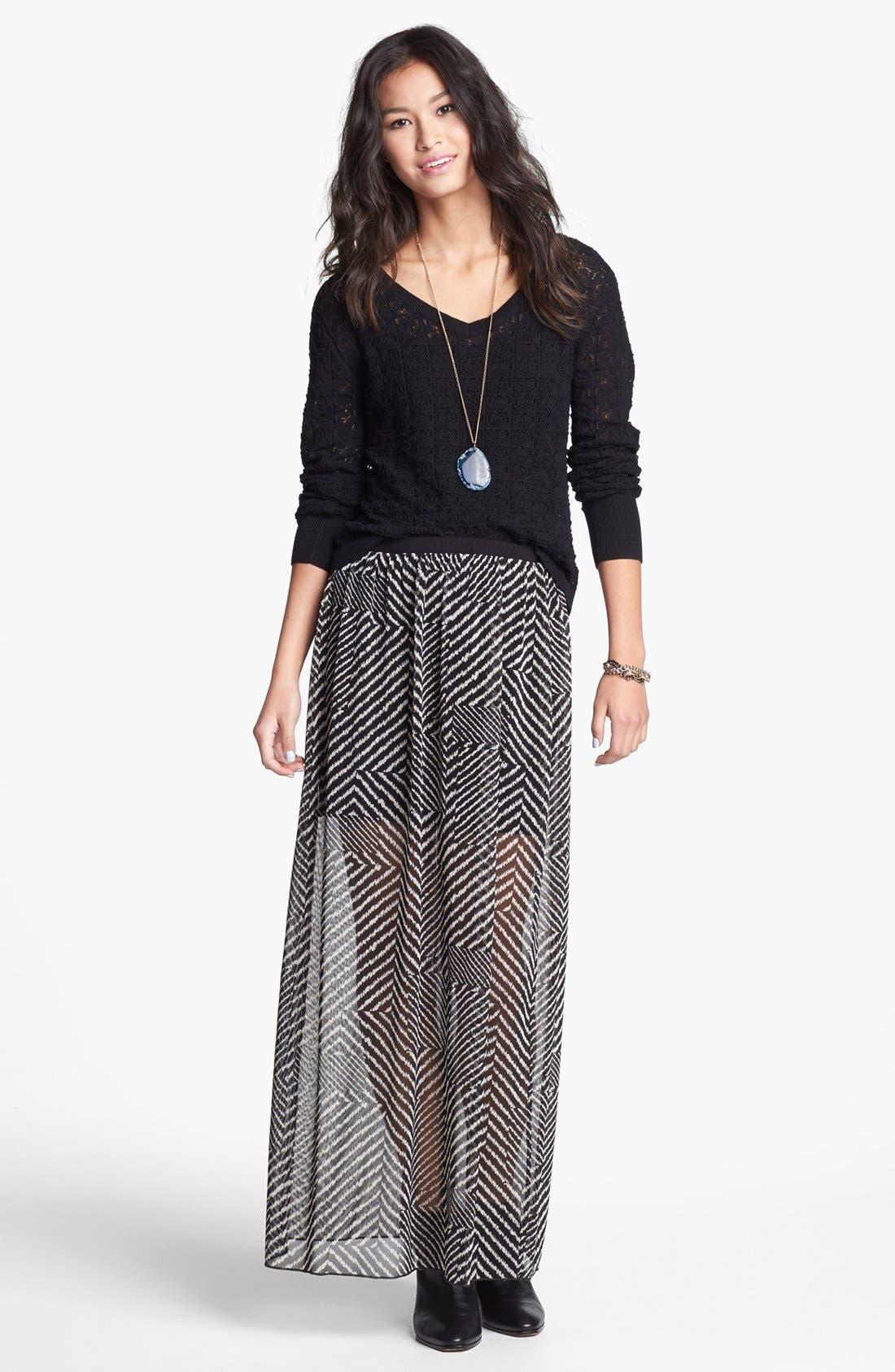 Alternate Image 1 Selected - h.i.p. Print Chiffon Maxi Skirt (Juniors)