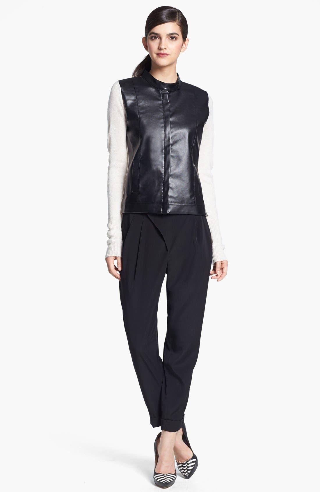 Alternate Image 1 Selected - Robbi & Nikki Faux Leather Detail Moto Cardigan