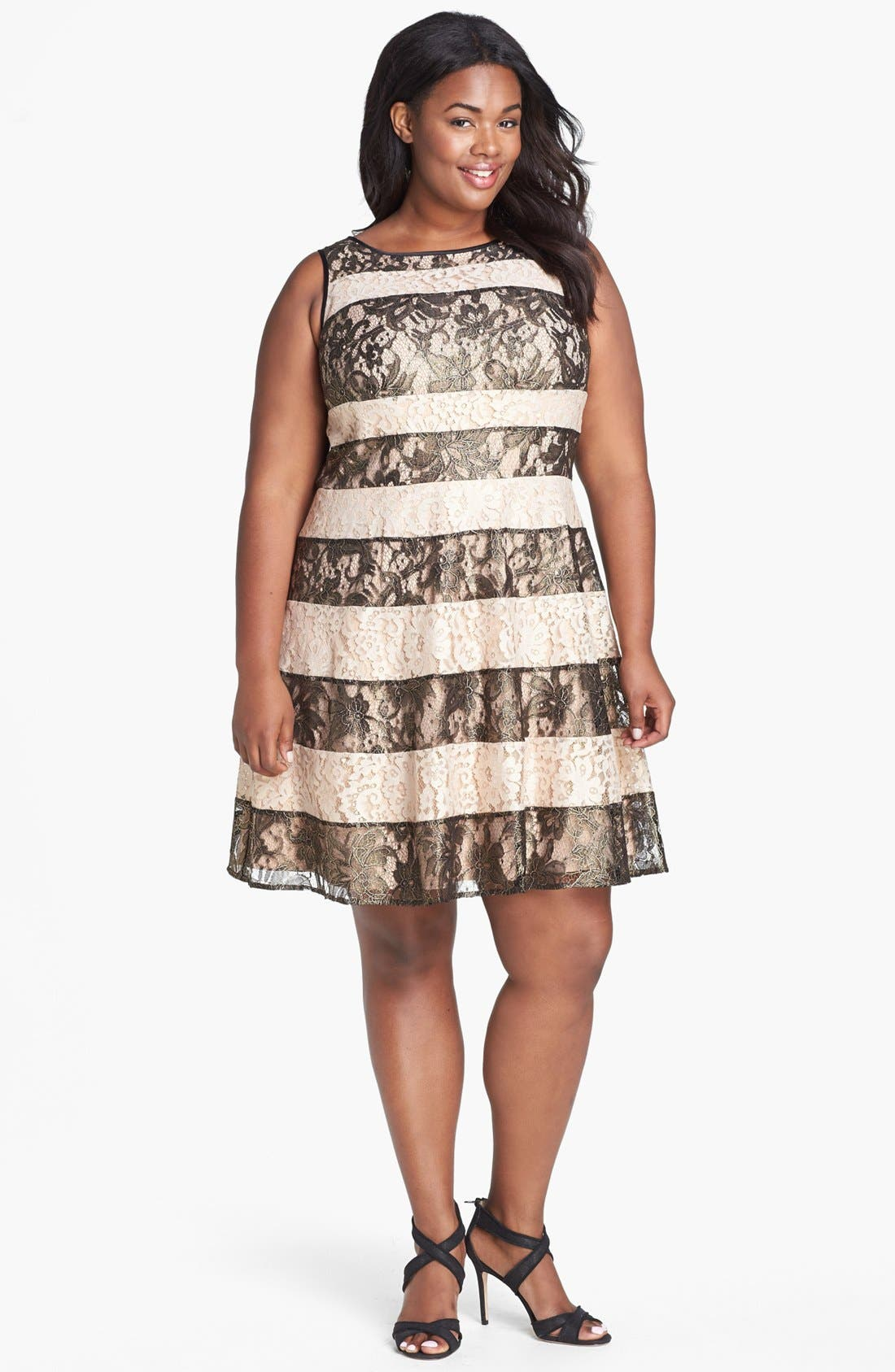 Alternate Image 1 Selected - Jessica Simpson Stripe Lace Fit & Flare Dress (Plus Size)