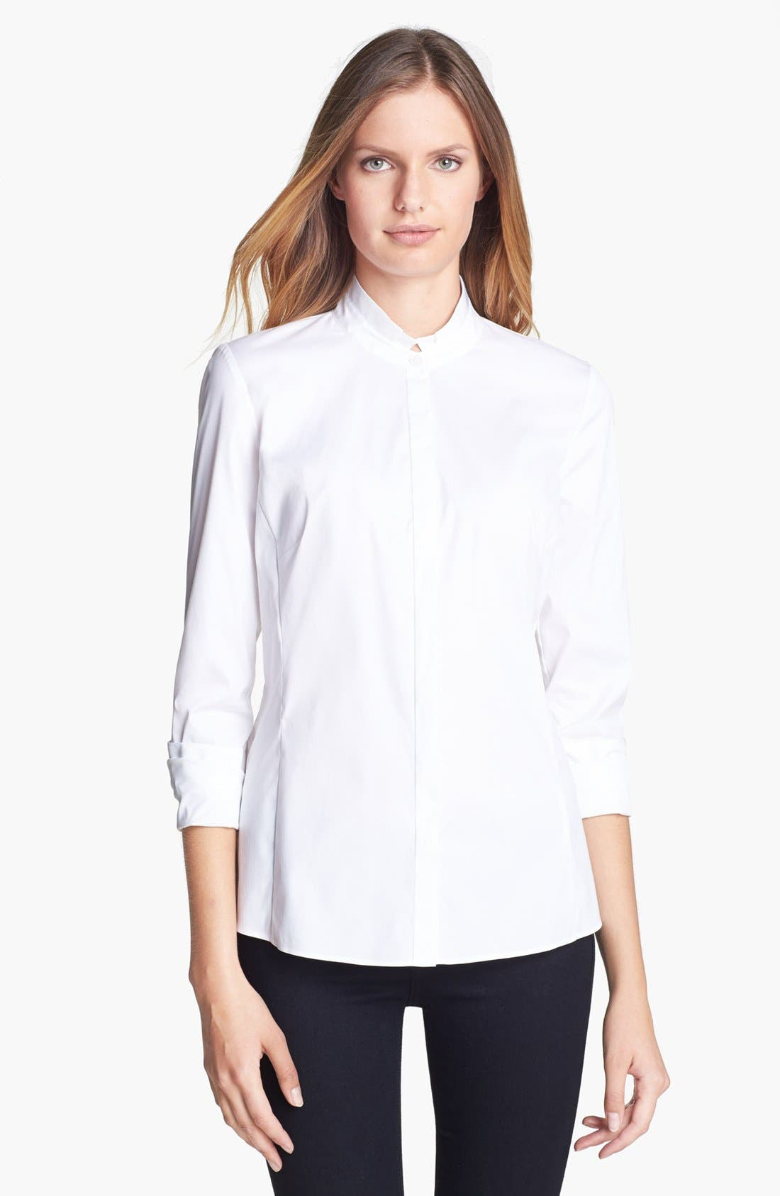 Alternate Image 1 Selected - Lafayette 148 New York Stretch Cotton Blouse