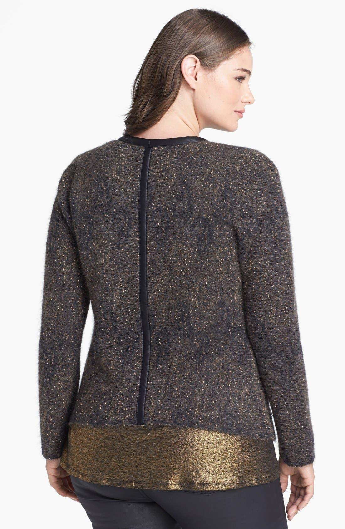 Alternate Image 2  - Eileen Fisher Leather Trim Jacket (Plus Size)