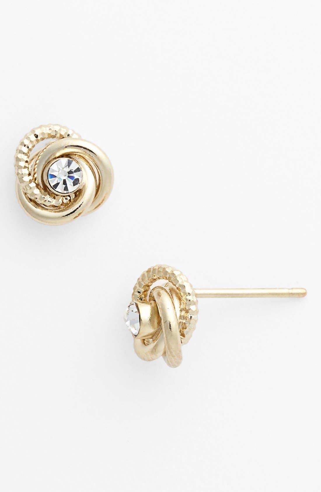 Alternate Image 1 Selected - Rachel Rhinestone Knot Stud Earrings (Juniors)