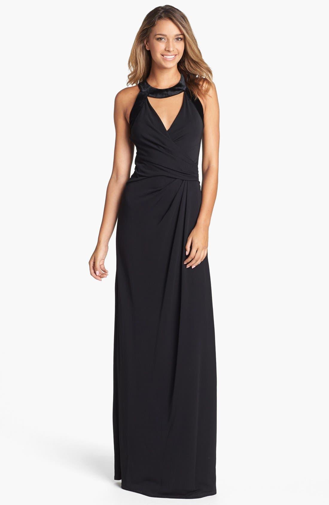 Main Image - Halston Heritage Velvet Trim Faux Wrap Gown