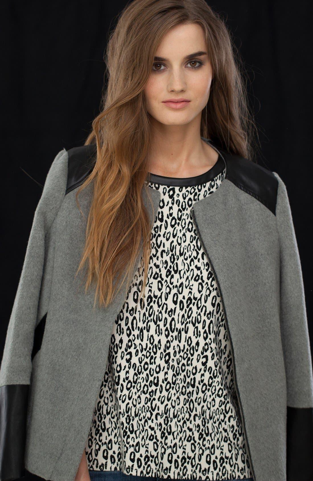 Alternate Image 4  - Ella Moss 'Frankie' Faux Leather Sleeve Top