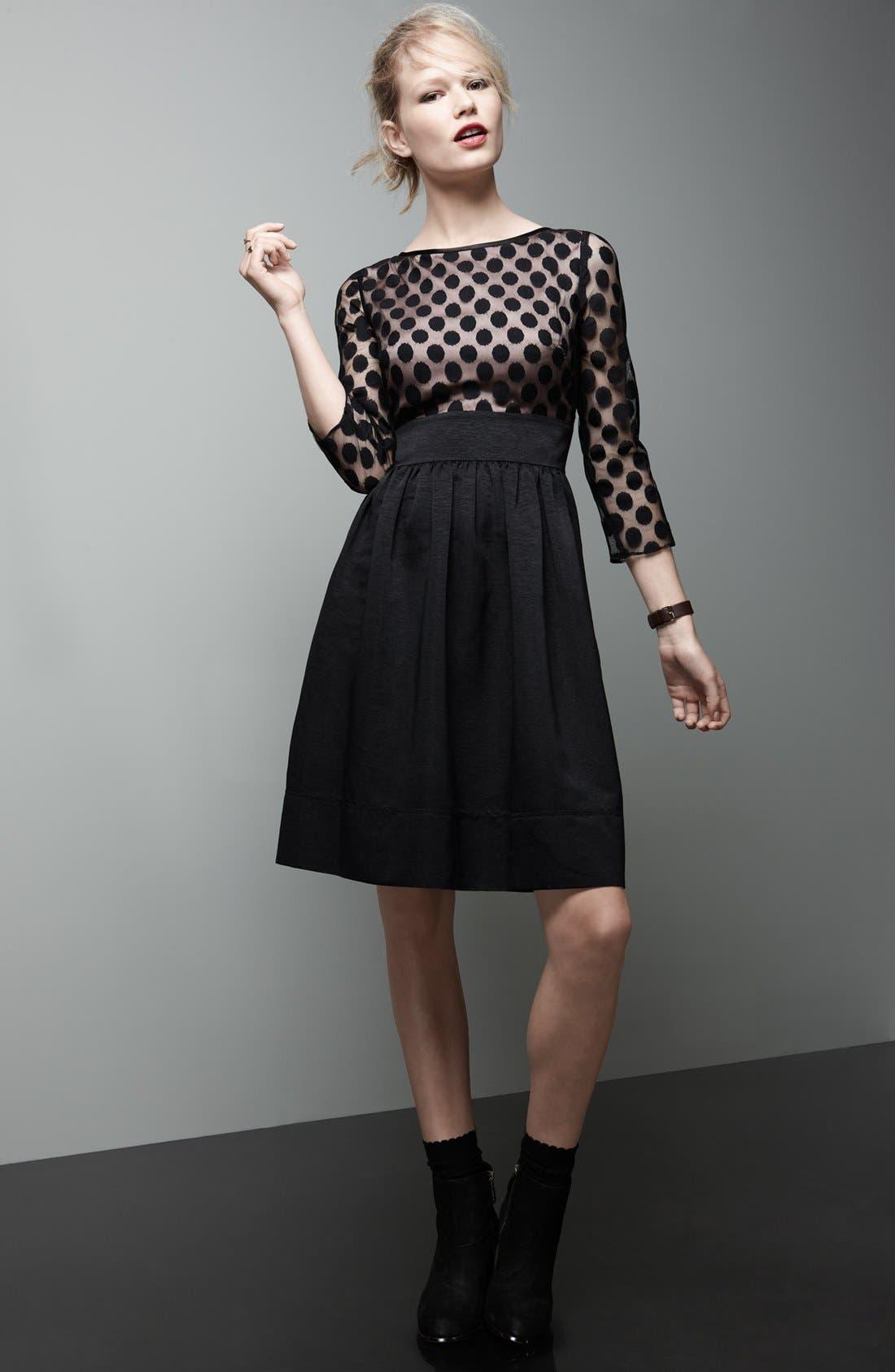 Alternate Image 4  - Eliza J Dot Mesh Bodice Fit & Flare Dress (Regular & Petite)