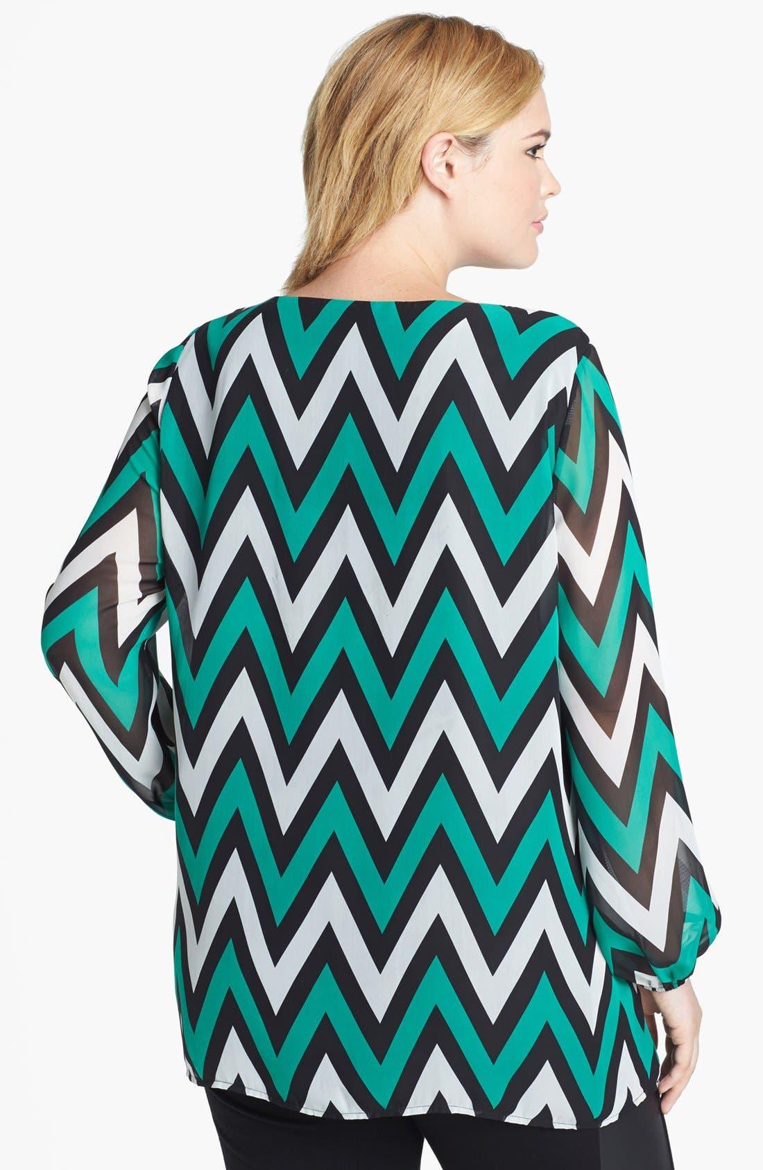 Alternate Image 2  - Kische Chevron Stripe Chiffon Tunic (Plus Size)