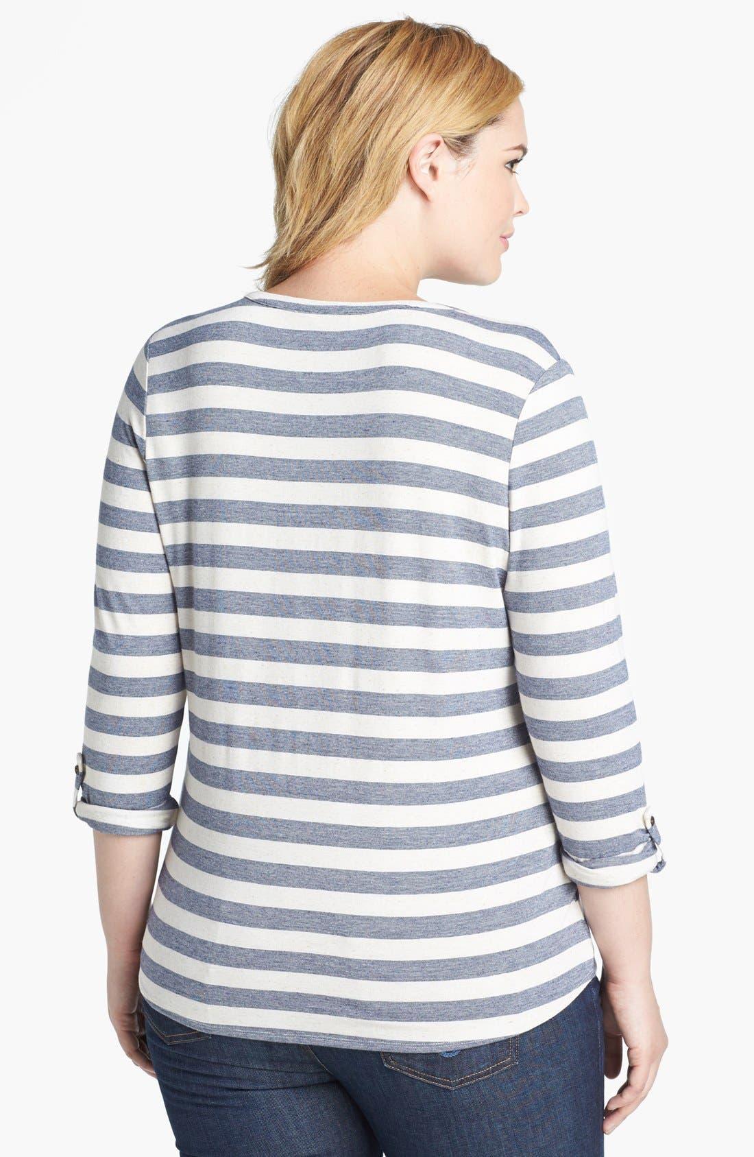 Alternate Image 2  - Lucky Brand 'Dallas' Stripe Top (Plus Size)