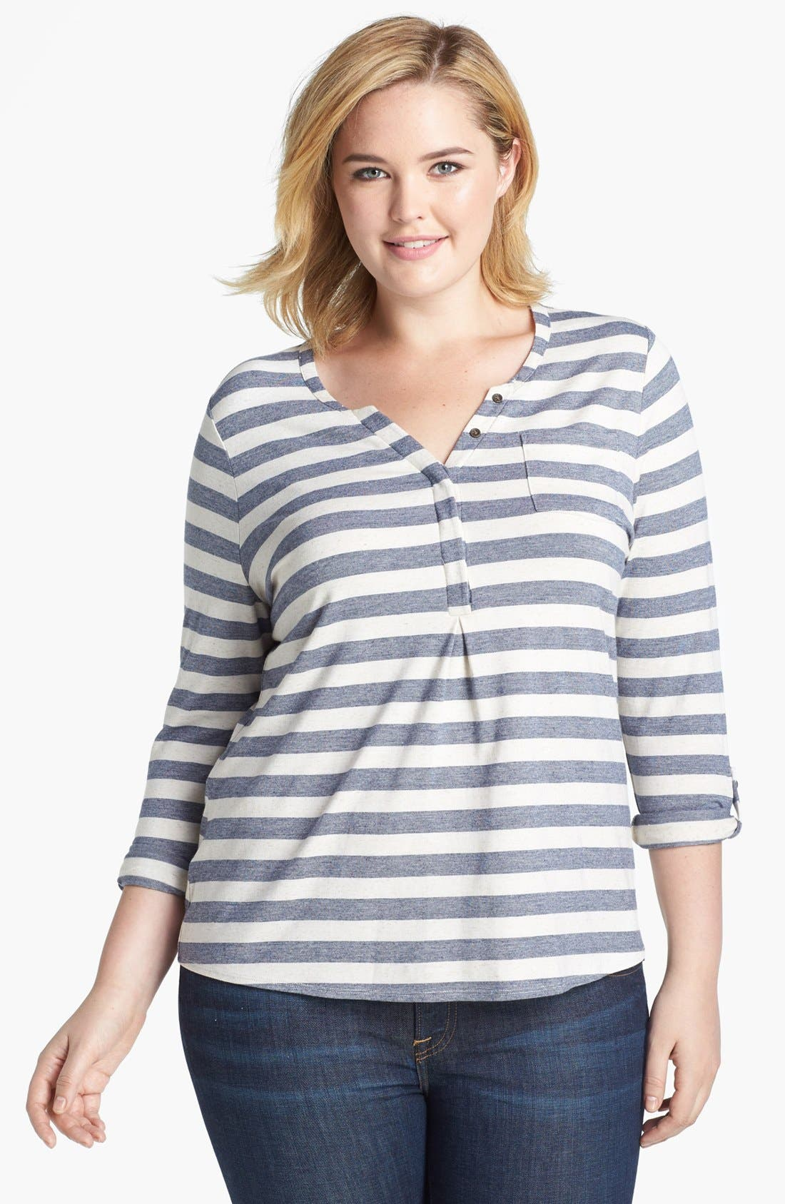 Alternate Image 1 Selected - Lucky Brand 'Dallas' Stripe Top (Plus Size)