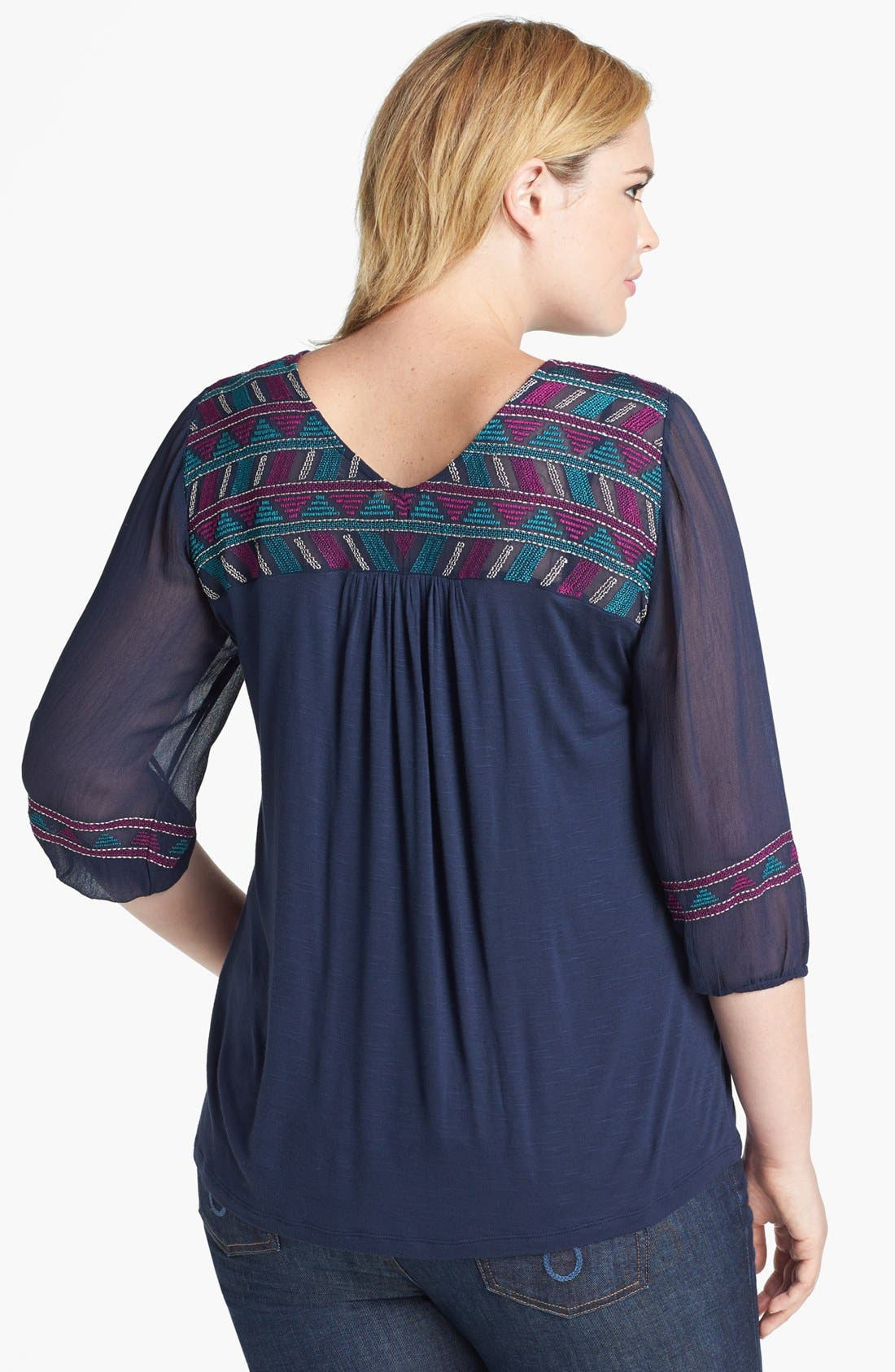 Alternate Image 2  - Lucky Brand 'Bella' Embroidered Top (Plus Size)
