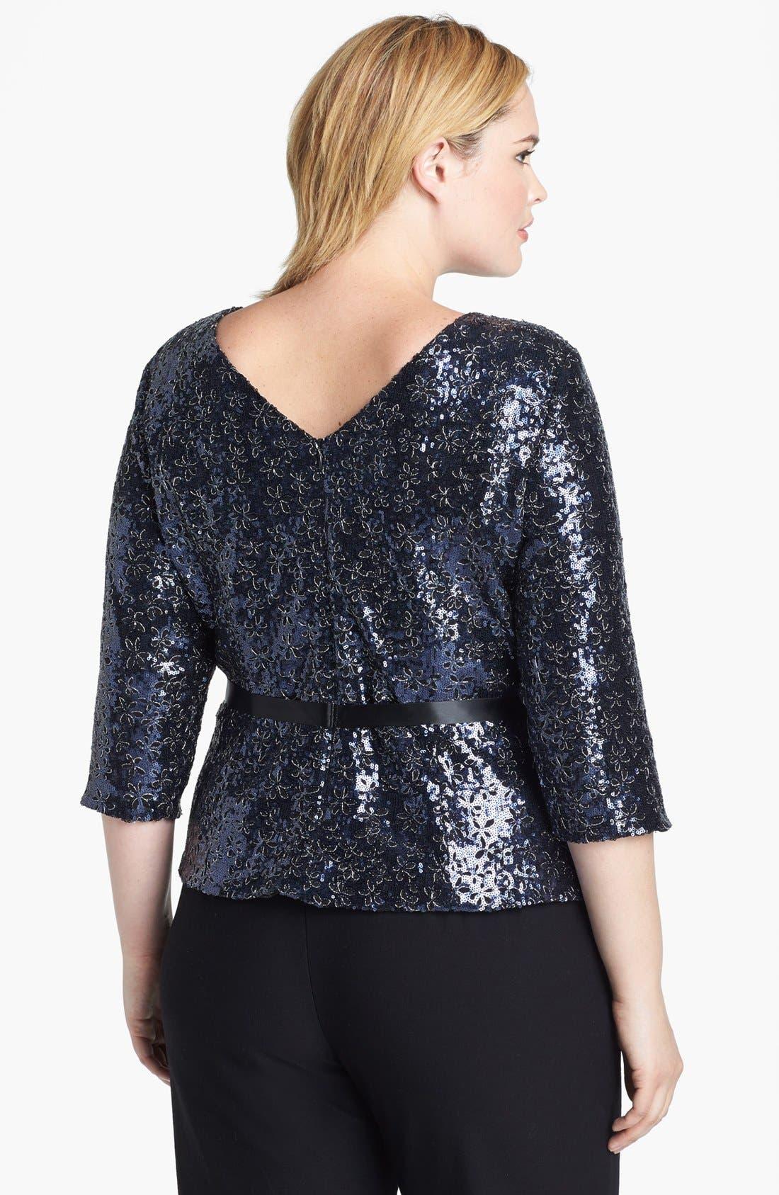 Alternate Image 2  - Alex Evenings Sequin  Blouse (Plus Size)