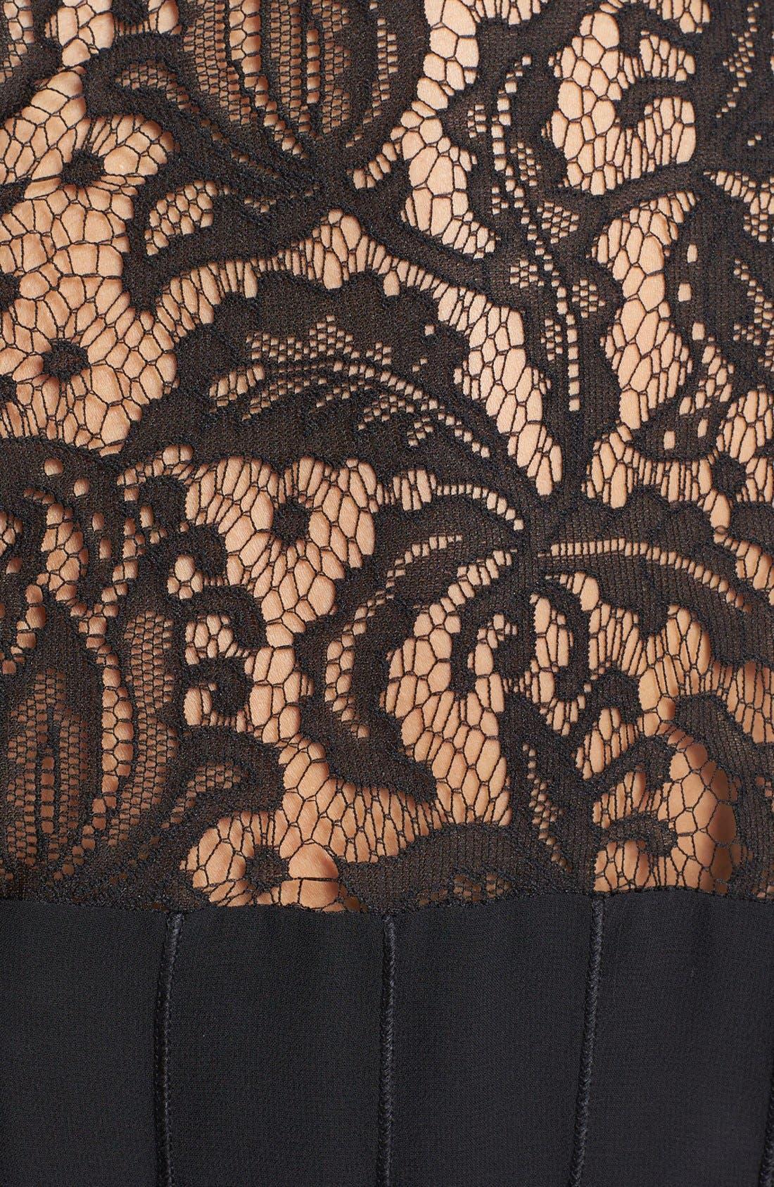 Alternate Image 3  - Adrianna Papell Lace Yoke Chiffon Fit & Flare Dress