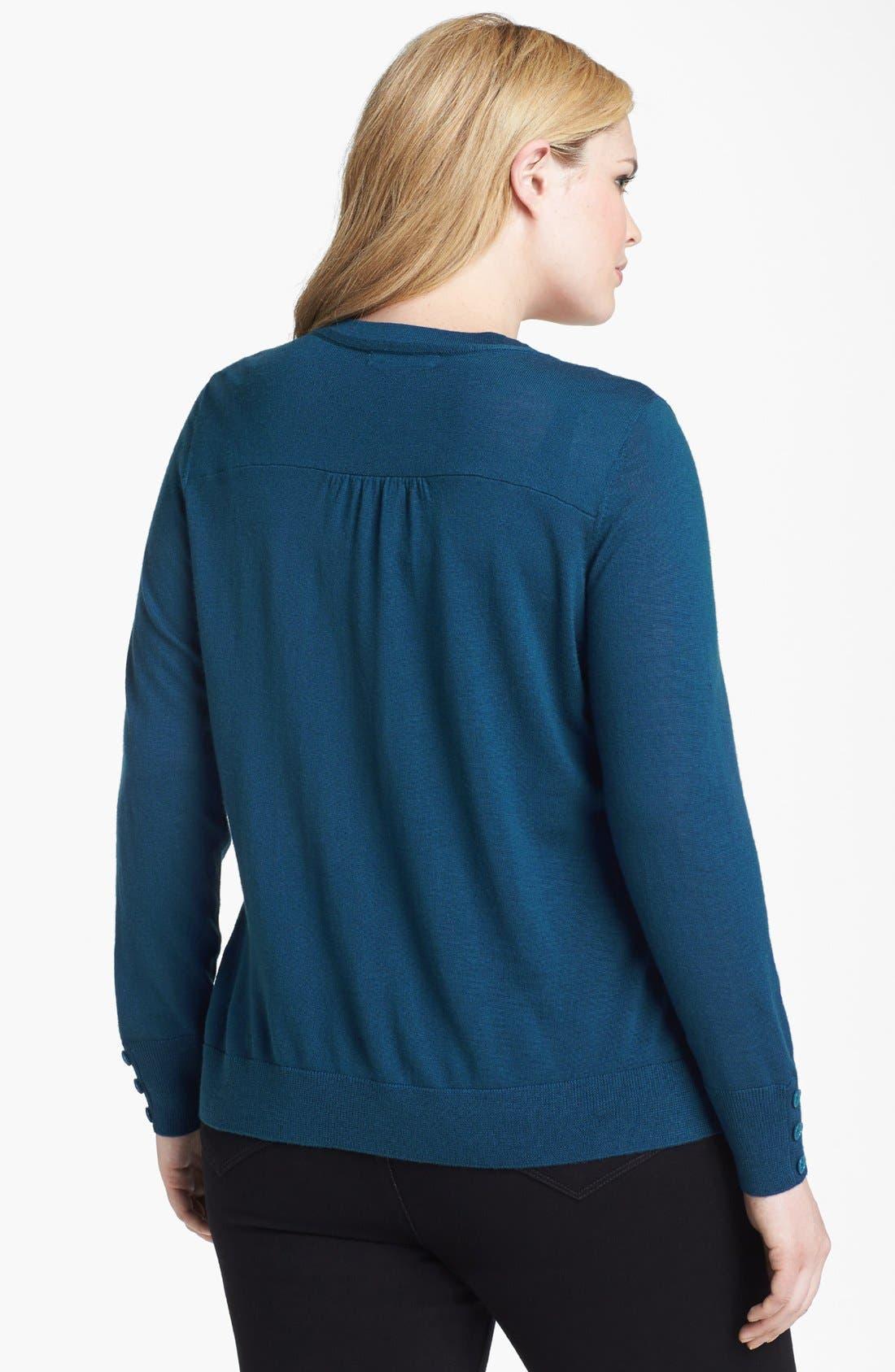 Alternate Image 2  - Sejour Merino Wool Cardigan (Plus Size)