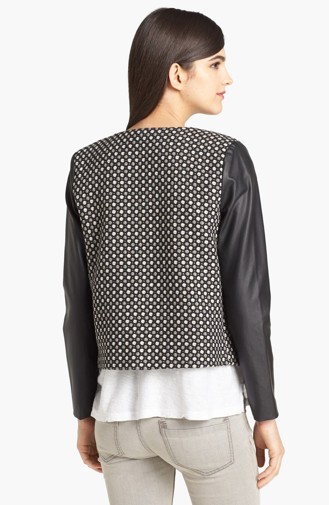 Alternate Image 2  - Pure Sugar Faux Leather Sleeve Jacquard Jacket