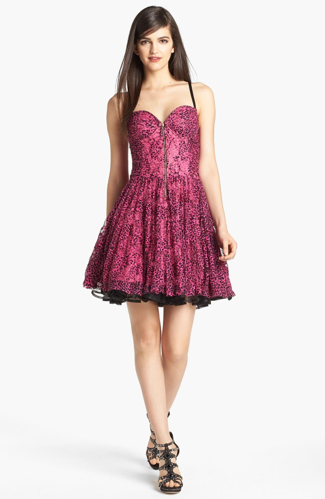 Alternate Image 1 Selected - Betsey Johnson Print Mesh Lace Fit & Flare Dress