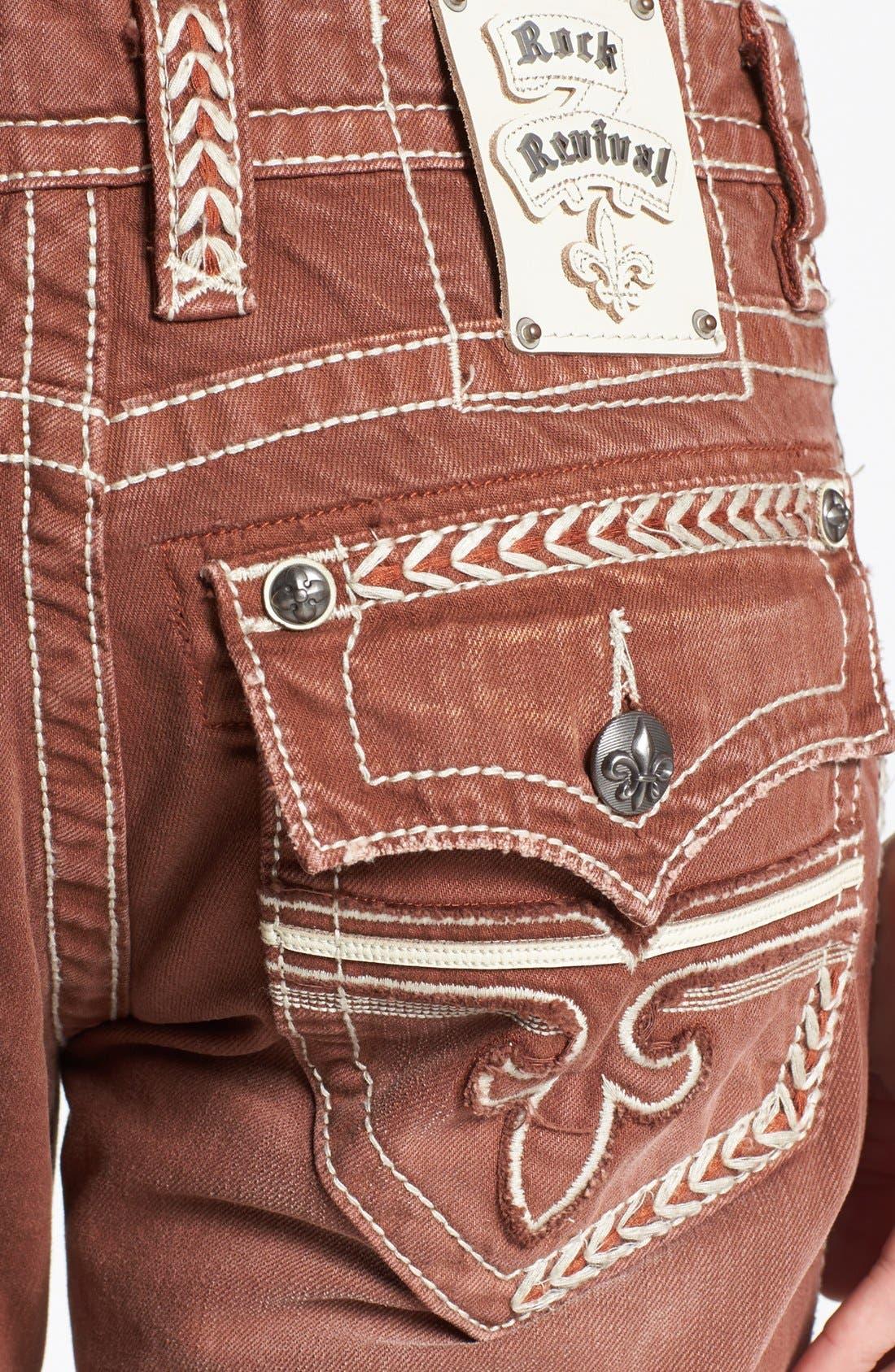 Alternate Image 4  - Rock Revival 'Sebastian' Straight Leg Jeans (Brown)