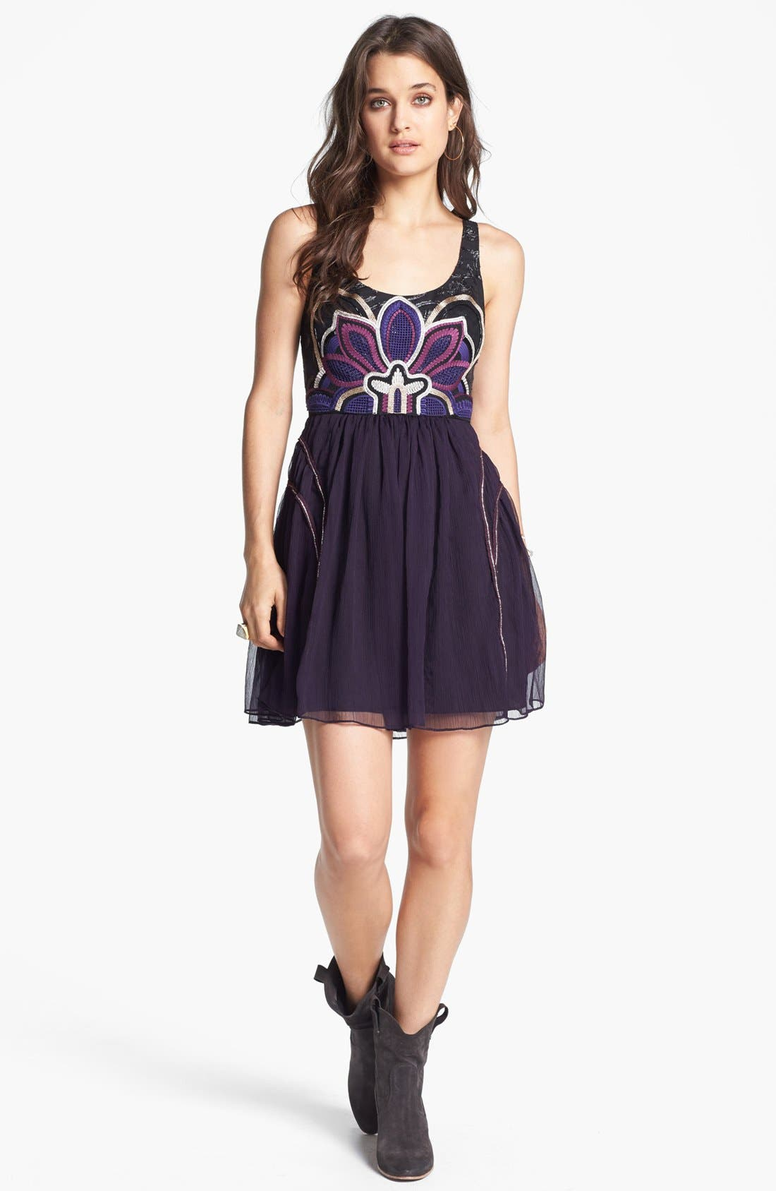 Main Image - Free People 'Lotus Pond' Embellished Fit & Flare Dress