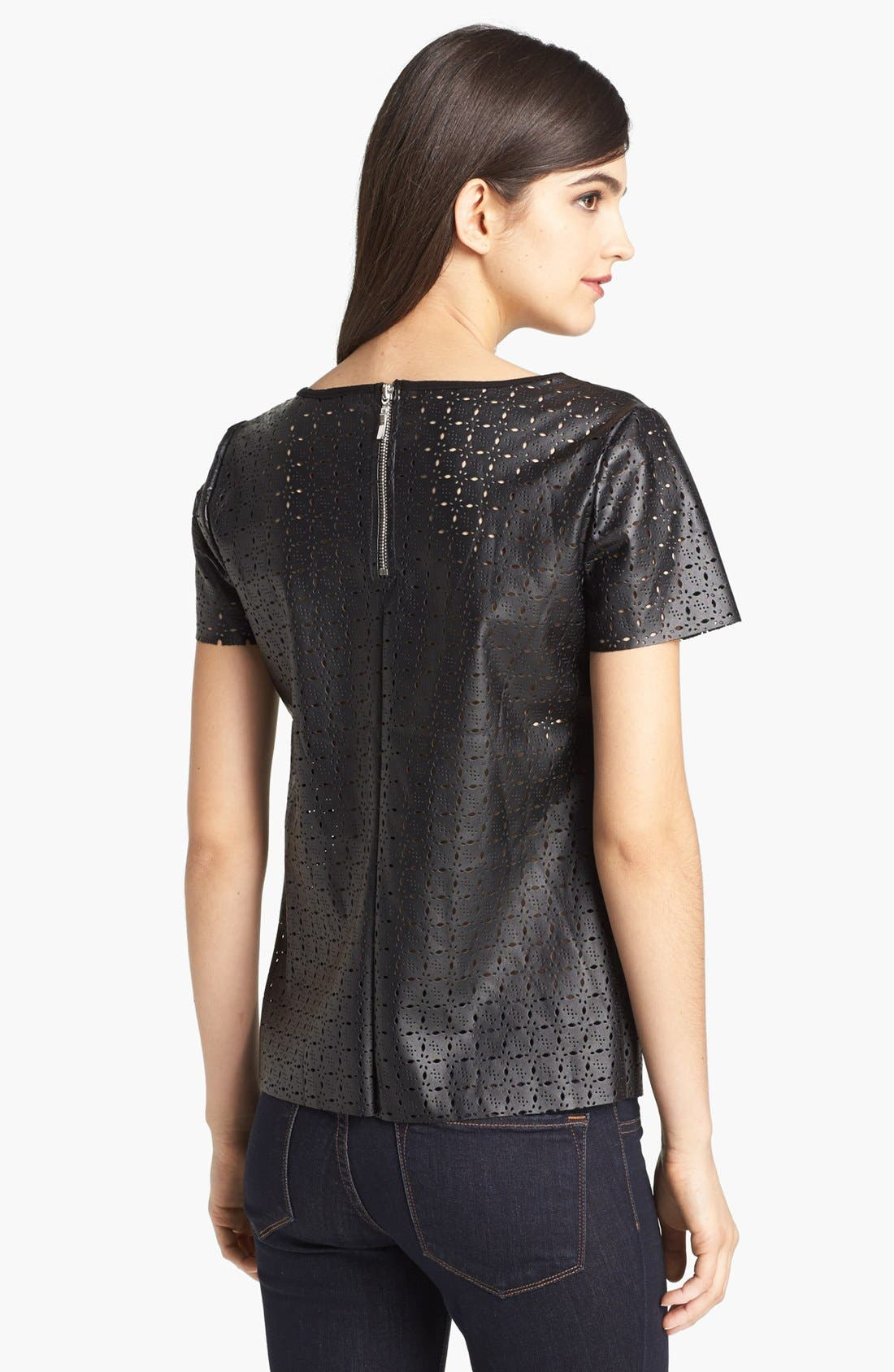 Alternate Image 2  - Ella Moss Perforated Faux Leather Tee