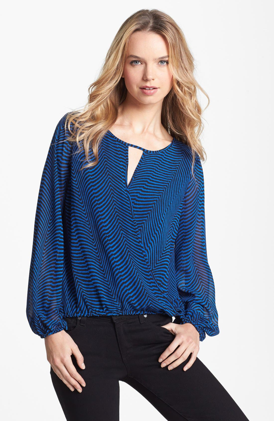 Alternate Image 1 Selected - Vince Camuto Zigzag Print Wrap Front Blouse