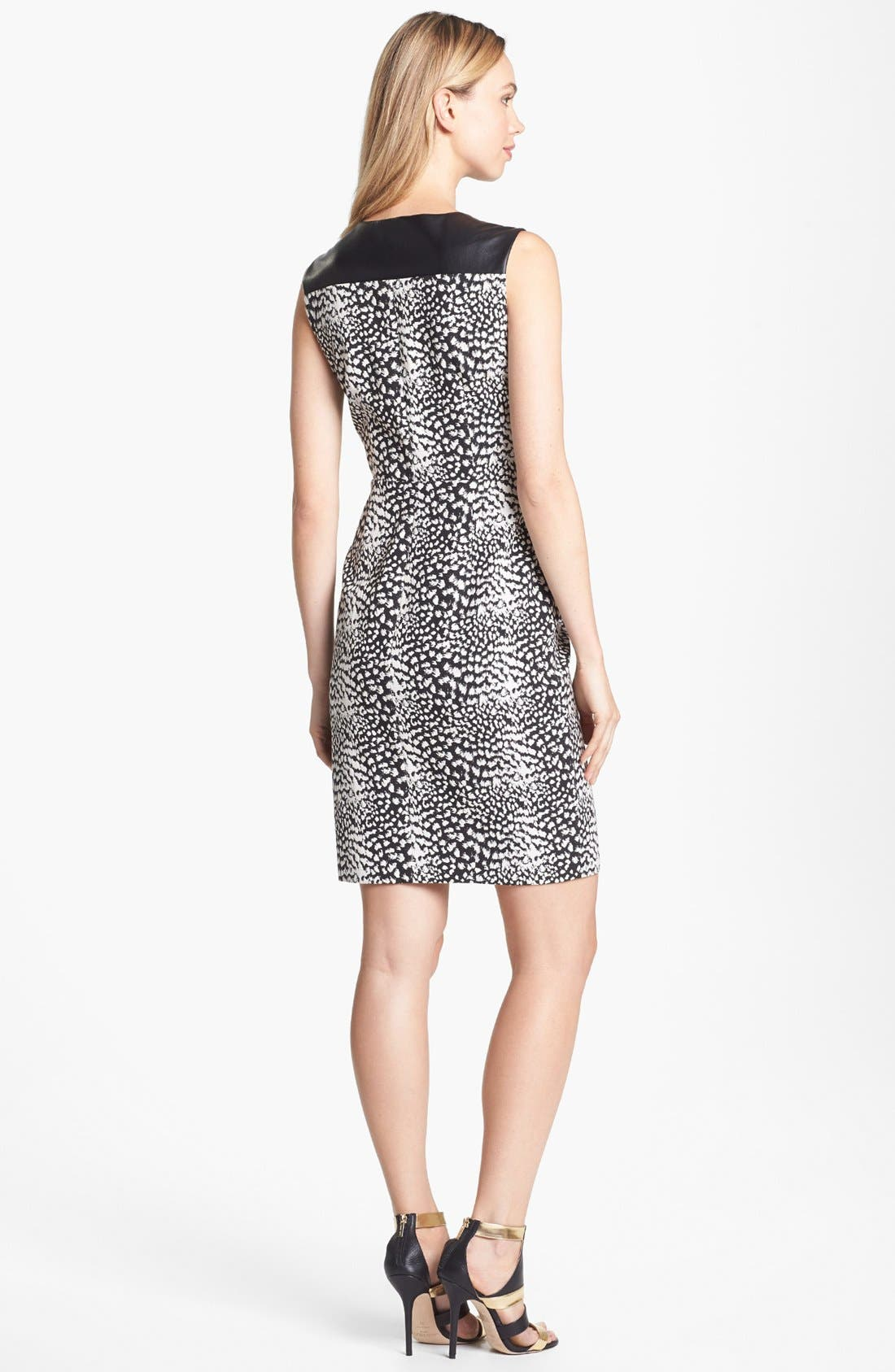 Alternate Image 2  - Vince Camuto Faux Leather Detail Print Zip Front Dress