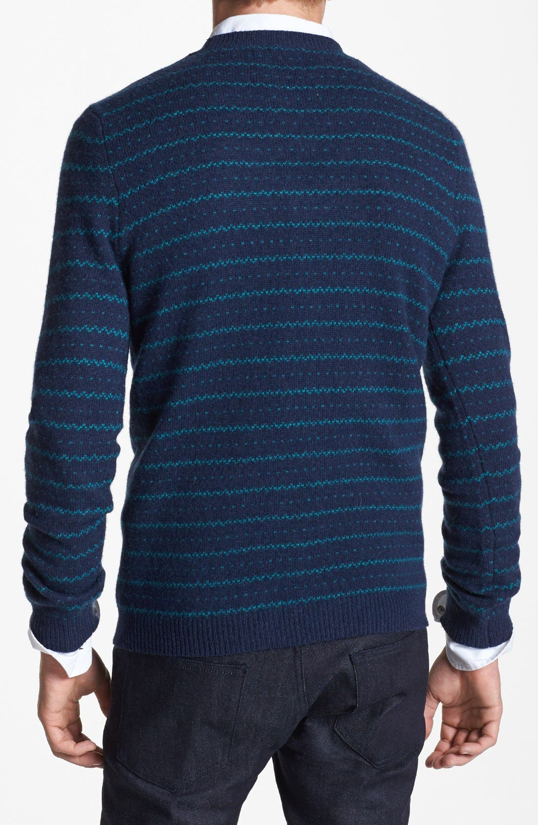 Alternate Image 2  - Topman Stripe Wool Blend Crewneck Sweater