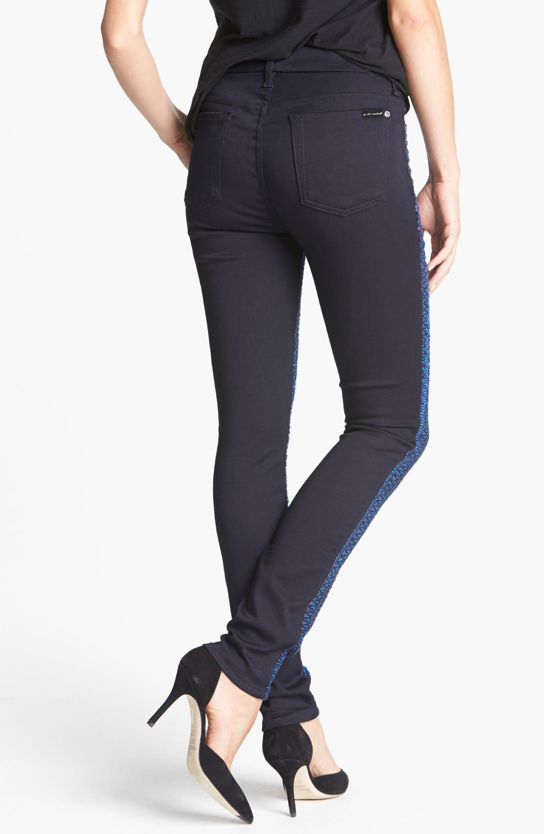 Alternate Image 2  - 7 For All Mankind® 'Malhia Kent - The Pieced Skinny' Jacquard Jeans (Blue Metallic Stripe)