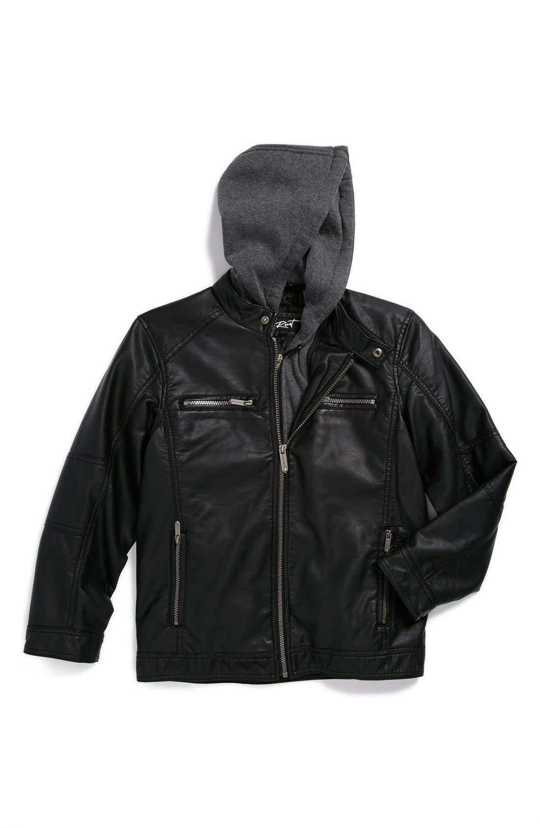 Main Image - Black Rivet Faux Leather Moto Jacket (Little Boys)