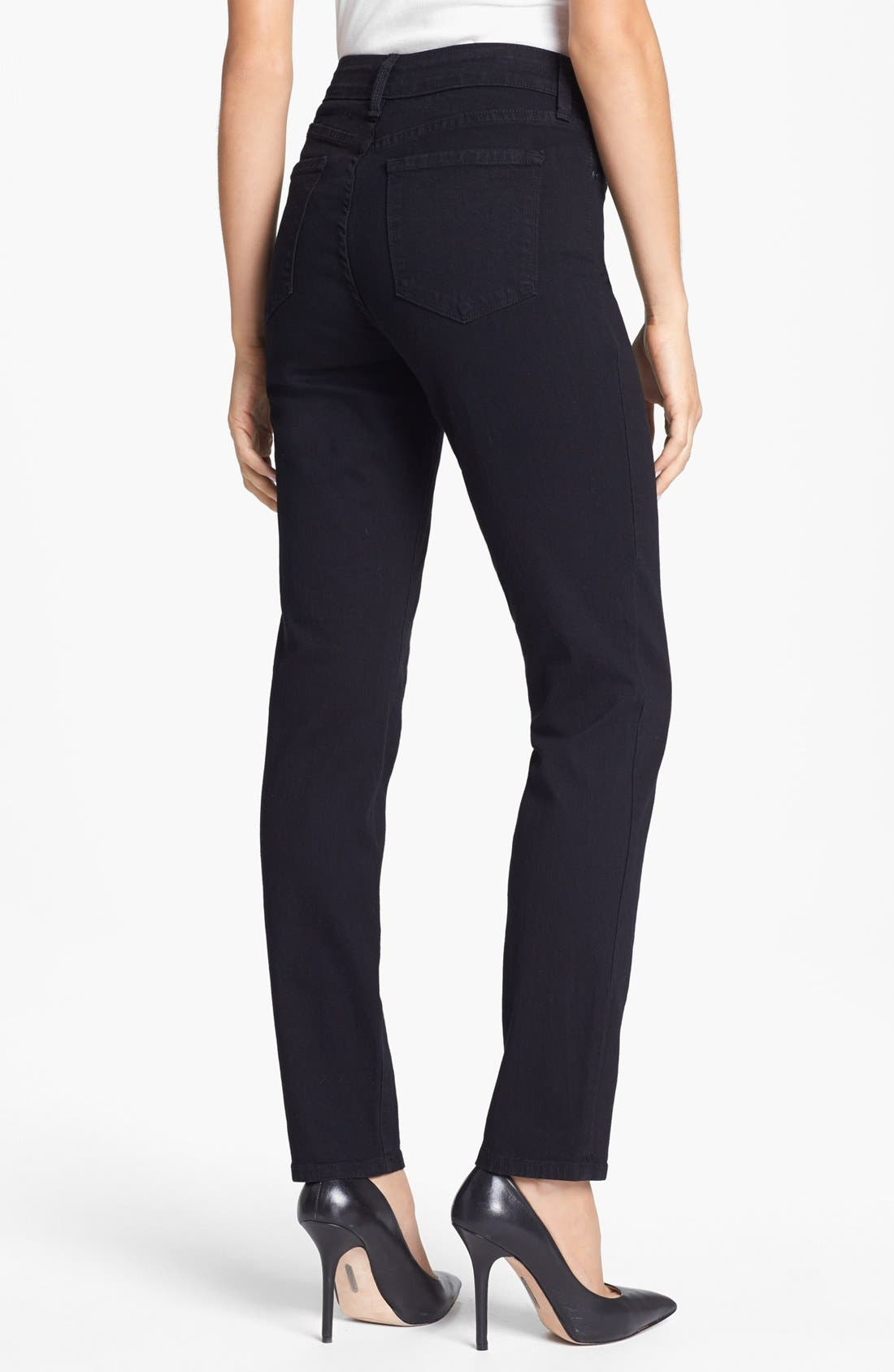 Alternate Image 2  - NYDJ 'Alina' Stretch Skinny Jeans (Black)