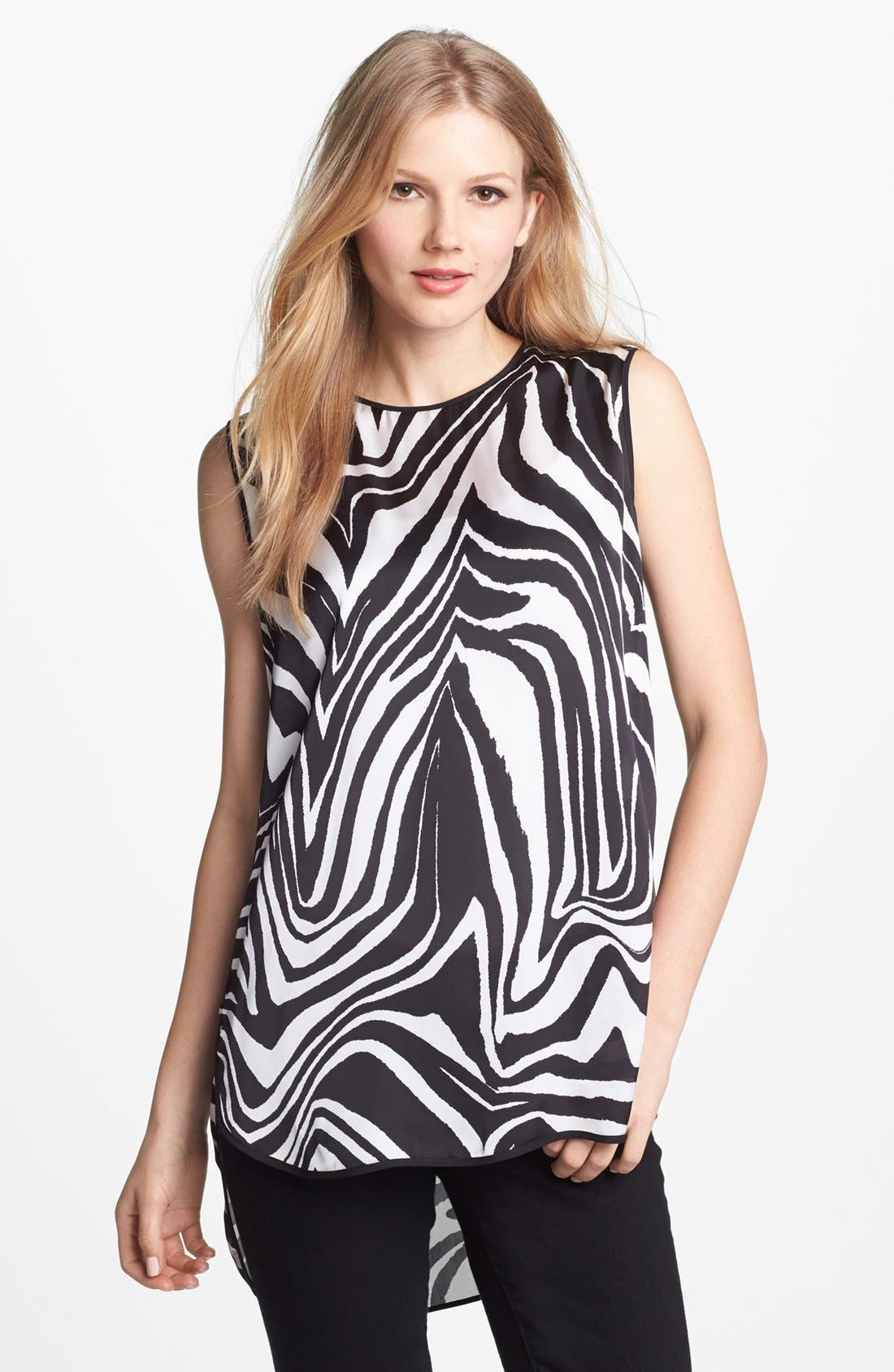 Alternate Image 1 Selected - Vince Camuto Zebra Print High/Low Sleeveless Blouse