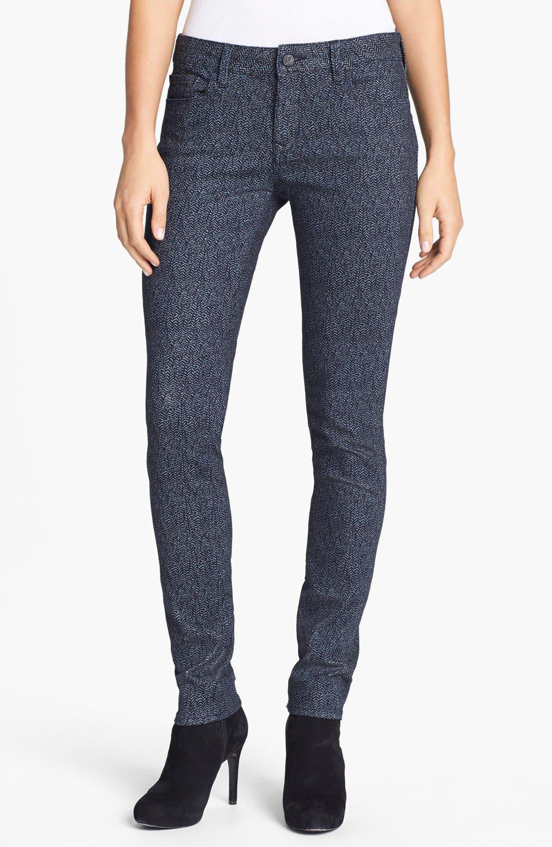 Main Image - Mavi Jeans 'Alexa' Print Skinny Jeans (Indigo Geometric)