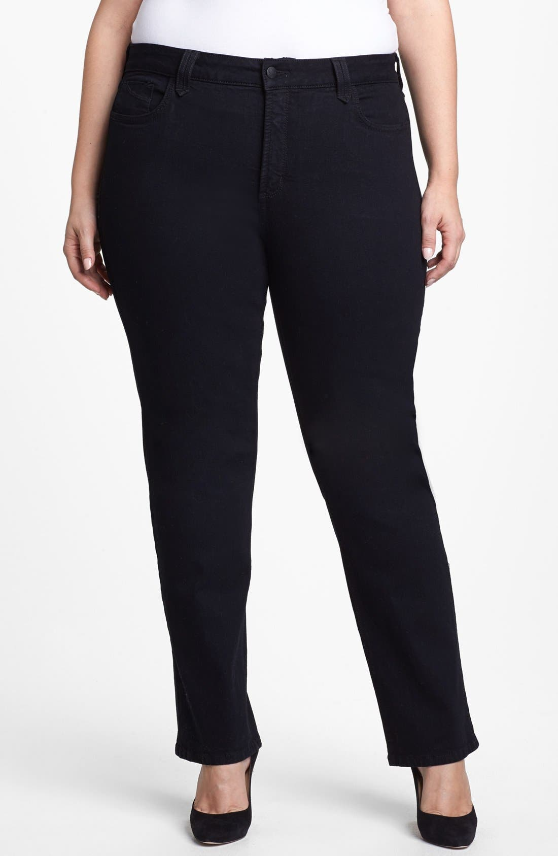 Alternate Image 1 Selected - NYDJ 'Hayden' Embroidered Pocket Stretch Straight Leg Jeans (Black) (Petite Plus Size)