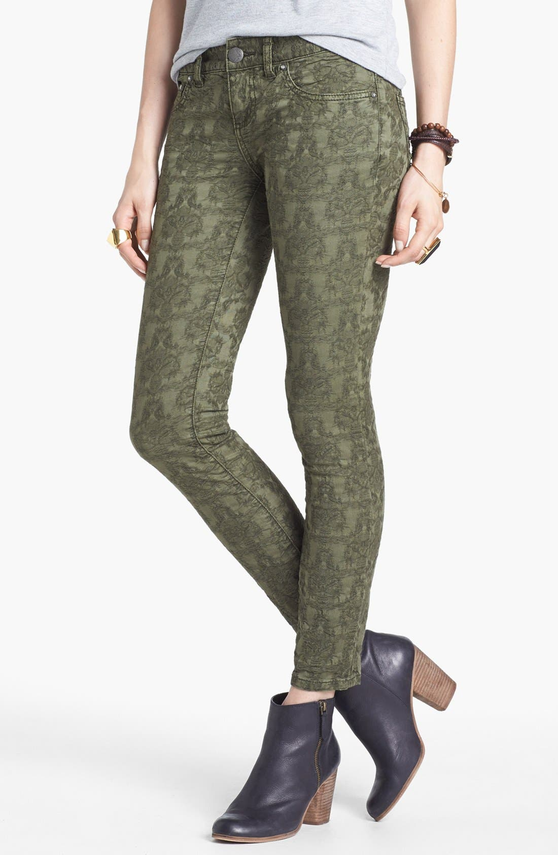Main Image - Free People Jacquard Skinny Jeans (Olive)