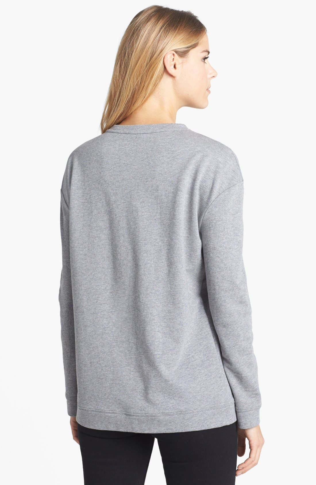 Alternate Image 2  - Two by Vince Camuto Embellished Necklace Cotton Blend Sweatshirt