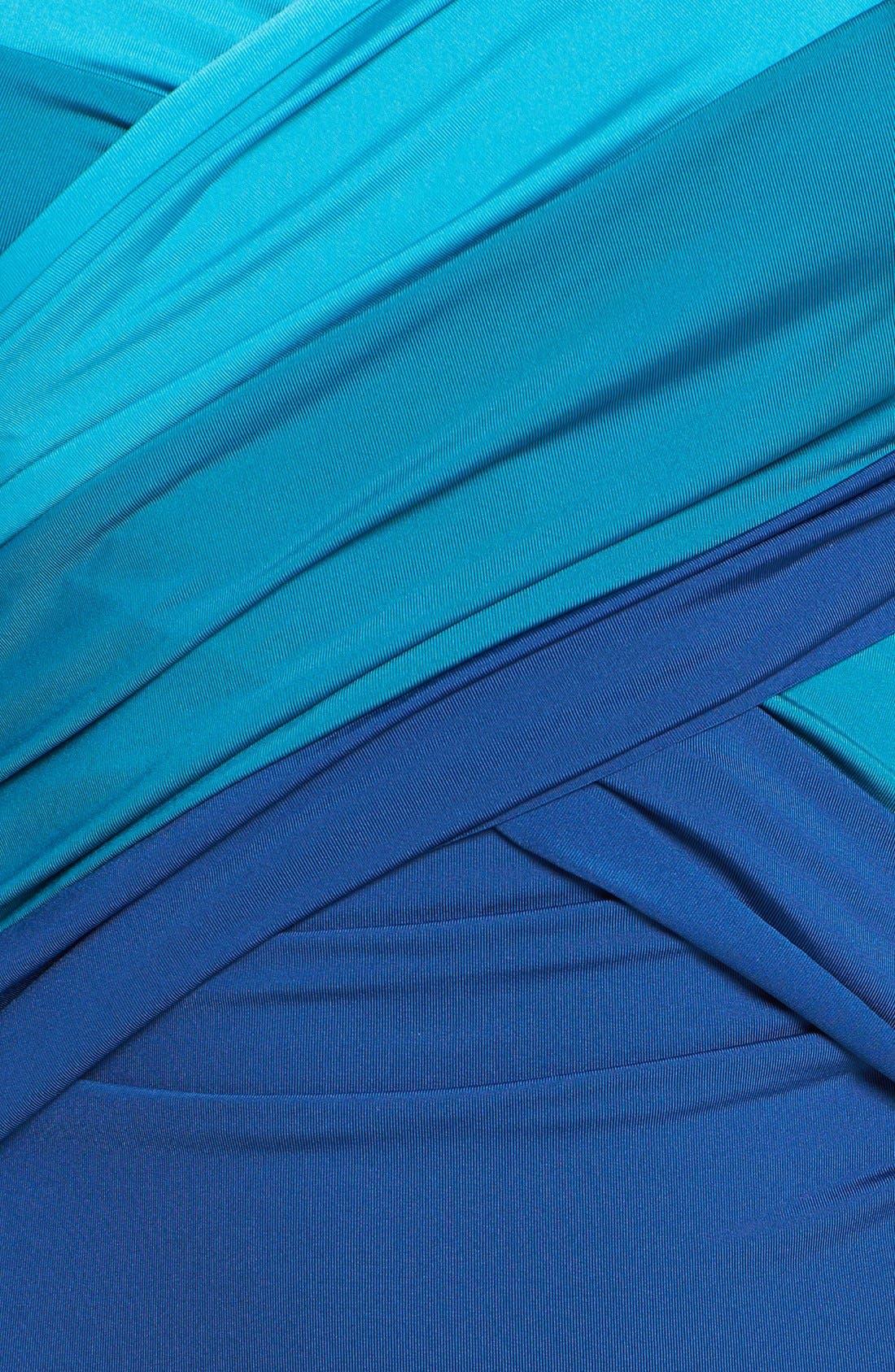 Alternate Image 3  - Badgley Mischka 'MB11' Ombré Shirred Maillot Swimsuit