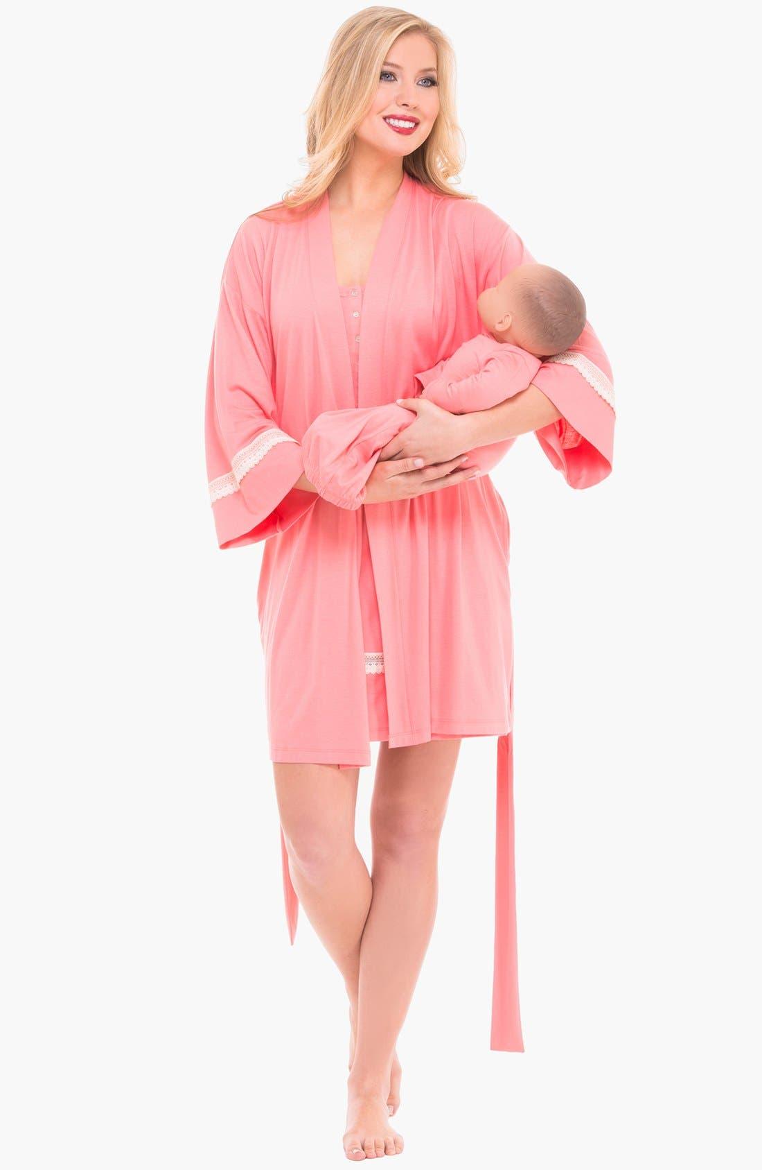 Alternate Image 1 Selected - Olian Three-Piece Maternity Sleepwear Gift Set